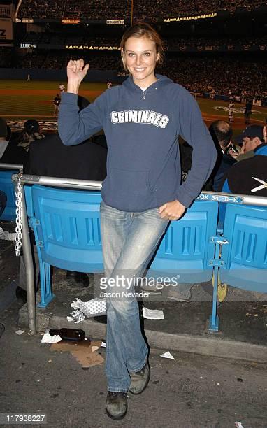 Bridget Hall during Celebrities at the 2003 World Series Game 6 New York Yankees vs Florida Marlins at Yankee Stadium in Bronx New York United States
