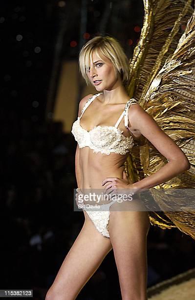 Bridget Hall wearing white Victoria's Secret heavenly air bra in white and white Victoria's Secret very sexy thong