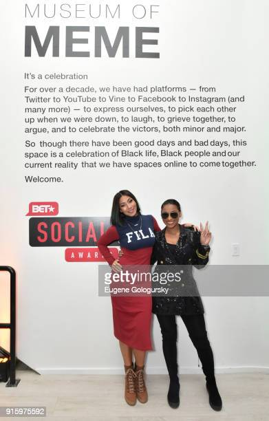 Bridget KellyÊand LeA Robinson attend the BET NETWORKS Hosting of the Opening Night Reception For 'THE MUSEUM OF MEME' In Celebration Of 'THE BET...