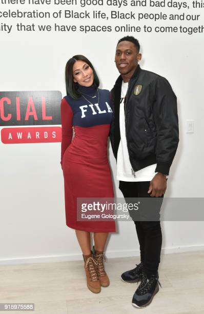 Bridget KellyÊand Wayne Gallman attend the BET NETWORKS Hosting of the Opening Night Reception For 'THE MUSEUM OF MEME' In Celebration Of 'THE BET...