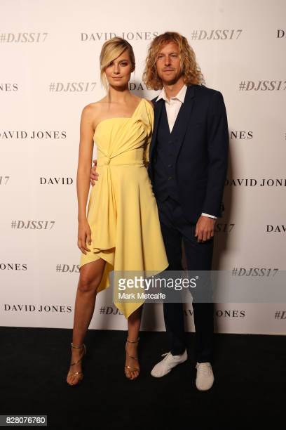 Bridget Malcolm and Nathaniel Hoho arrives ahead of the David Jones Spring Summer 2017 Collections Launch at David Jones Elizabeth Street Store on...