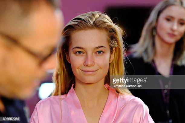 Bridget Malcolm has her Hair Makeup done prior the 2016 Victoria's Secret Fashion Show on November 30 2016 in Paris France