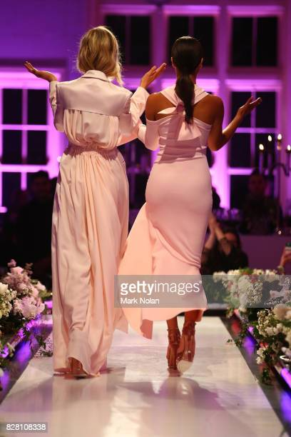 Bridget Malcolm in Bianca Spender and Shanina Shaik in By Johnny walk the runway during the David Jones Spring Summer 2017 Collections Launch at...