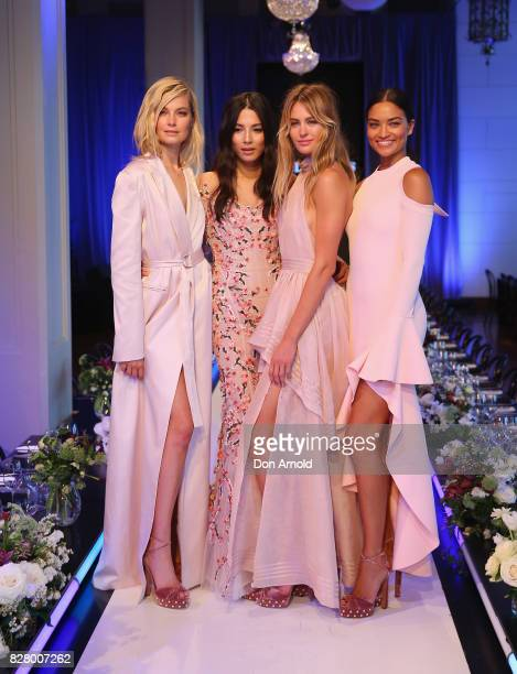 Bridget Malcolm Jessica Gomes Jesinta Franklin and Shanina Shaik pose after rehearsals ahead of the David Jones Spring Summer 2017 Collections Launch...