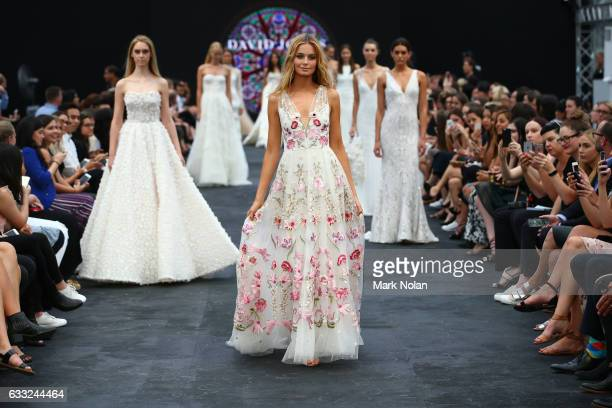 Bridget Malcolm showcases a design during the finale show at rehearsal ahead of the David Jones Autumn/Winter 2016 Fashion Launch at St Mary's...