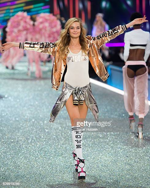 Bridget Malcolm walks the runway during the annual Victoria's Secret fashion show at Grand Palais on November 30 2016 in Paris France