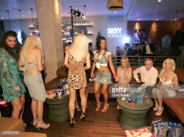 Bridget Marquandt Hugh Hefner and Holly Madison during Skyy Vodka Celebrates Playboy's August Issue With Playmate of the Year Kara Monaco Inside at...