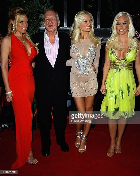 Bridget Marquardt Hugh Hefner Holly Madison and Kendra Wilkinson attend the playboy entrepreneur's 80th birthday bash in London hosted by E...