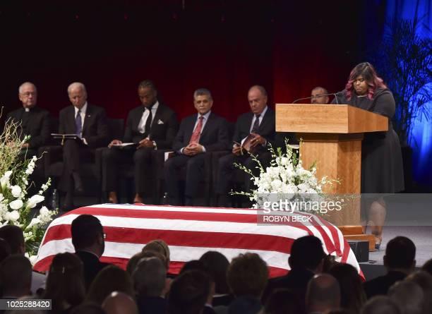 Bridget McCain speaks at the North Phoenix Baptist Church during a memorial service for her father Sen John McCain on August 30 in Phoenix Arizona...