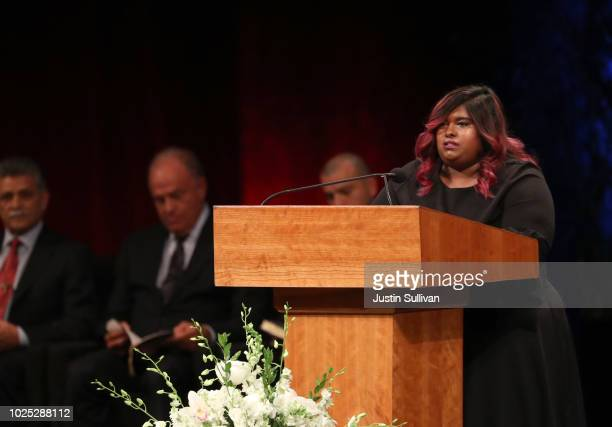 Bridget McCain speaks during a memorial service to celebrate the life of of US Sen John McCain at the North Phoenix Baptist Church on August 30 2018...