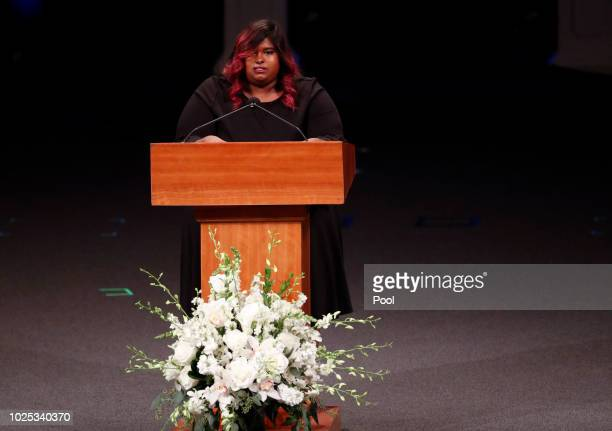 Bridget McCain speaks during memorial service at North Phoenix Baptist Church for Sen John McCain RAriz on August 30 2018 in Phoenix Arizona...