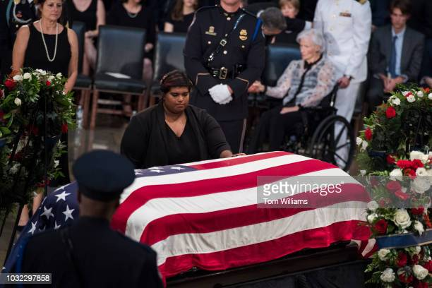 Bridget McCain the daughter of the late Sen John McCain RAriz pays respects to her father as the senator lies in state in the Capitol rotunda on...