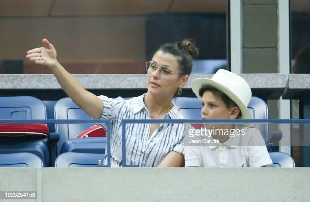Bridget Moynahan and son John Moynahan attend day 3 of the 2018 tennis US Open on Arthur Ashe stadium at the USTA Billie Jean King National Tennis...