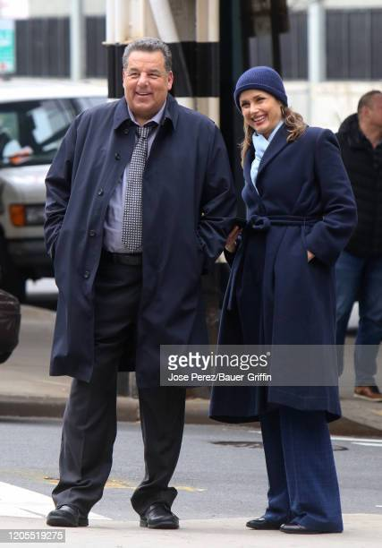 Bridget Moynahan and Steve Schirripa are seen filming a scene for 'Blue Bloods' on March 06, 2020 in New York City.