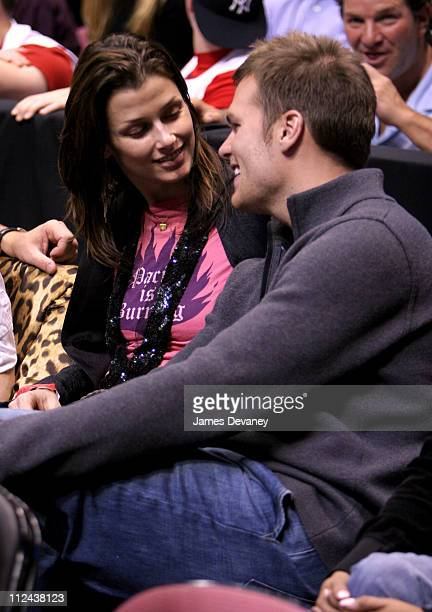Bridget Moynahan and Tom Brady during Celebrities Attend Miami Heat Vs New Jersey Nets Playoff Game May 12 2006 at Continental Arena in East...