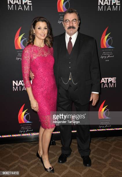 Bridget Moynahan and Tom Selleck are seen at the Brandon Tartikoff Legacy Awards at NATPE 2018 at the Fontainebleau Hotel on January 17 2018 in Miami...