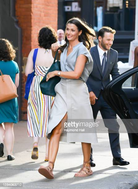 """Bridget Moynahan is seen on the set of """"And Just Like That..."""" the follow-up series to """"Sex and the City"""" in SoHo on July 19, 2021 in New York City."""