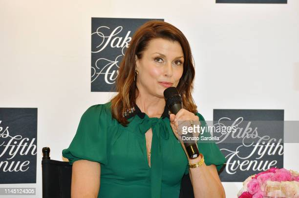Bridget Moynahan speaks onstage during Saks Beverly Hills Celebrates Our Shoes Our Selves Book Launch with Bridget Moynahan and Amanda Benchley on...