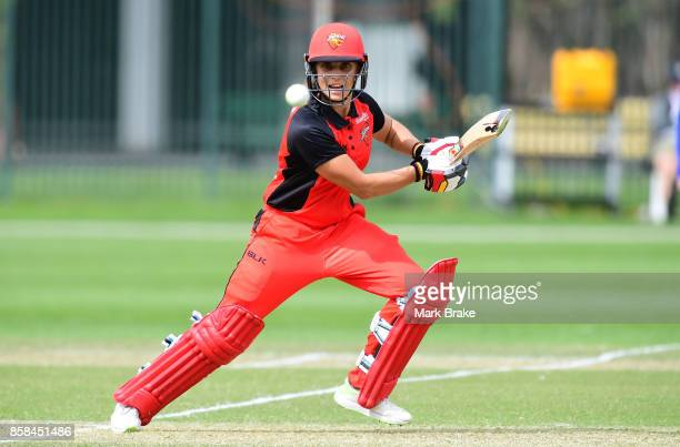 Bridget Patterson batting during the WNCL match between South Australia and Western Australia at Adelaide Oval No2 on October 6 2017 in Adelaide...