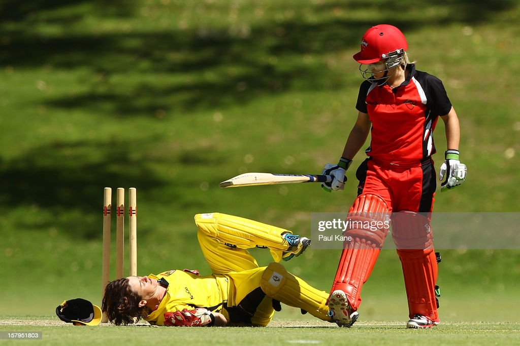Bridget Patterson of the Scorpions looks on after being run out by Jenny Wallace of the Fury during the WNCL match between the Western Australia Fury and the South Australia Scorpions at on December 8, 2012 in Perth, Australia.