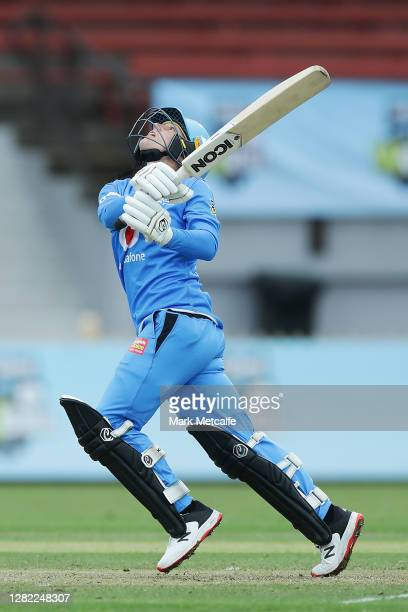 Bridget Patterson of the Strikers bats during the Women's Big Bash League WBBL match between the Sydney Sixers and the Adelaide Strikers at North...