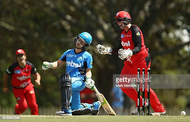 Bridget Patterson of the Strikers is bowled by Sophie Molineux of the Renegades during the Women's Big Bash League match between the Melbourne...