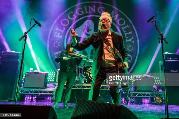 Bridget Regan and Dave King of Flogging Molly perform at Sentrum Scene in Oslo 2019 on February 4, 2019 in Oslo, Norway.