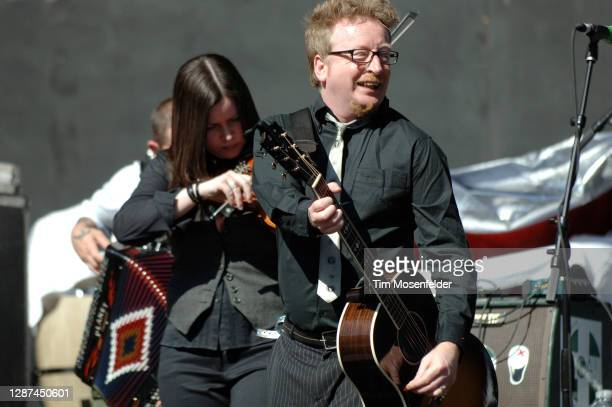 Bridget Regan and Dave King of Flogging Molly perform during KROQ's Weenie Roast y Fiesta at Irvine Meadows Amphitheatre on May 17, 2008 in Irvine,...