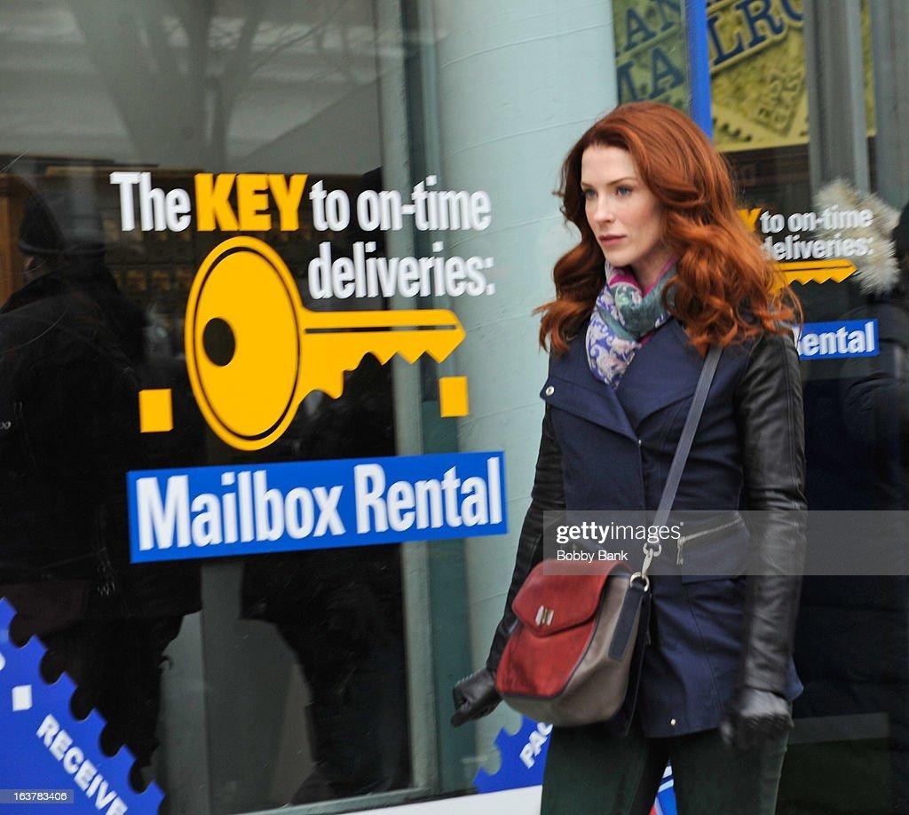 Bridget Regan filming on location for 'Murder In Manhattan' on March 15, 2013 in New York City.