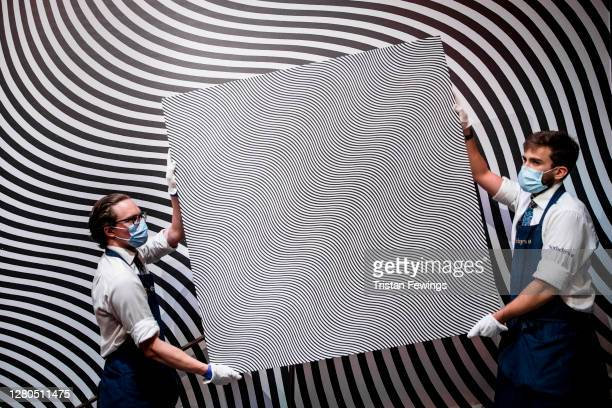 Bridget Riley's est. £5.5 - 7.5 million, goes on view at Sotheby's on October 16, 2020 in London, England. The artwork is one of the highlights of...