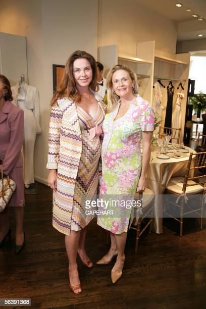 Bridget Rooney Koch and Michelle Henderson show their designer maternity dresses at the Badgley Mischka Spring/Summer 2006 Collection Show at Alpark...