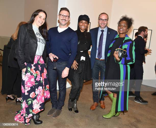 Bridget Siegel Charlie Joughin Jodie Patterson Chad Griffin and Lorna Simpson attend Artists For Equality at Sean Kelly Gallery on October 22 2018 in...