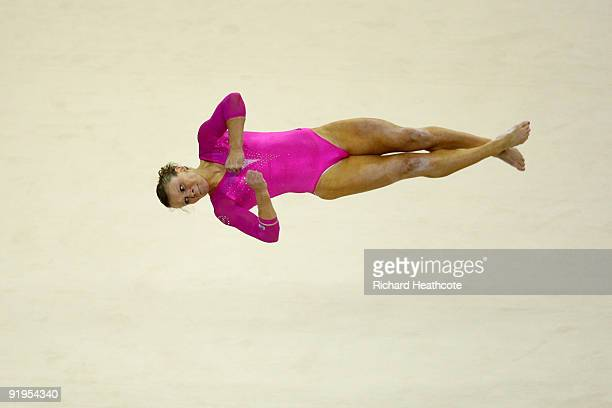 Bridget Sloan of USA competes in the floor exercise during the Women's All Round Final on the fourth day of the Artistic Gymnastics World...