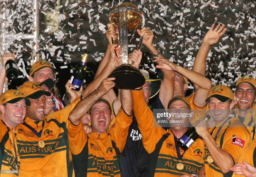 Australian cricket captain Ricky Ponting (C) and his teammates celebrate with the trophy of the ICC Cricket World Cup 2007 at the Kensington Oval in Bridgetown, 28 April 2007. Australia defeated Sri Lanaka to win the championship for the third time. AFP PHOTO/Jewel SAMAD