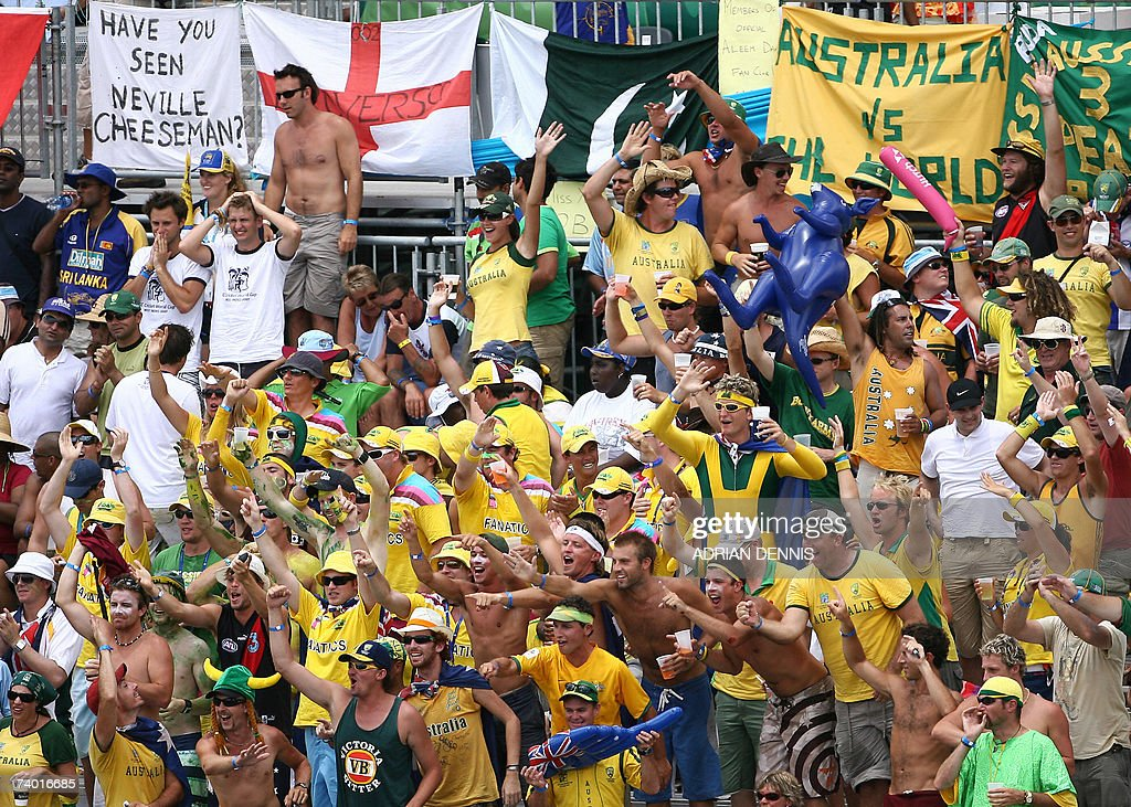 Australian cricket fans support their team against Sri Lanka in the final of the ICC Cricket World Cup 2007, at the Kensington Oval stadium in Bridgetown, in Barbados, 28 April 2007. Australia captain Ricky Ponting won the toss and elected to bat against Sri Lanka in the World Cup final at Kensington Oval here Saturday.