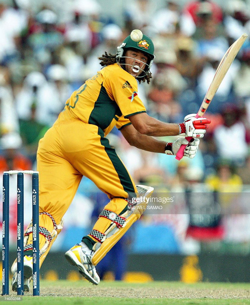 Australian cricketer Andrew Symonds plays a shot during the final match of the ICC Cricket World Cup 2007 between Australia and Sri Lanka at the Kensington Oval in Bridgetown, 28 April 2007. Australia scored 281-4 at the end of their innings. AFP PHOTO/Jewel SAMAD