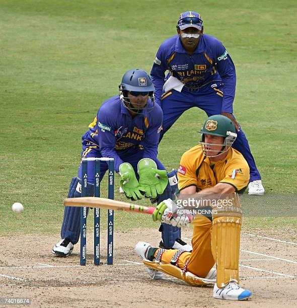 Australian cricketer Matthew Hayden bats against Sri Lanka in the final of the ICC Cricket World Cup 2007 at the Kensington Oval stadium in...