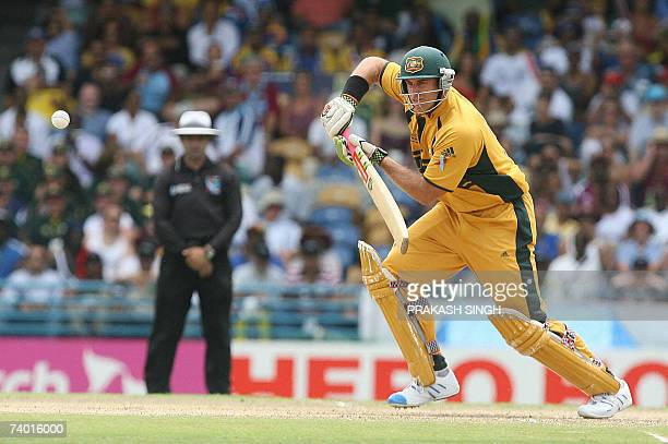 Australian cricketer Matthew Hayden plays a shot during the final match of the ICC Cricket World Cup 2007 between Australia and Sri Lanka at the...
