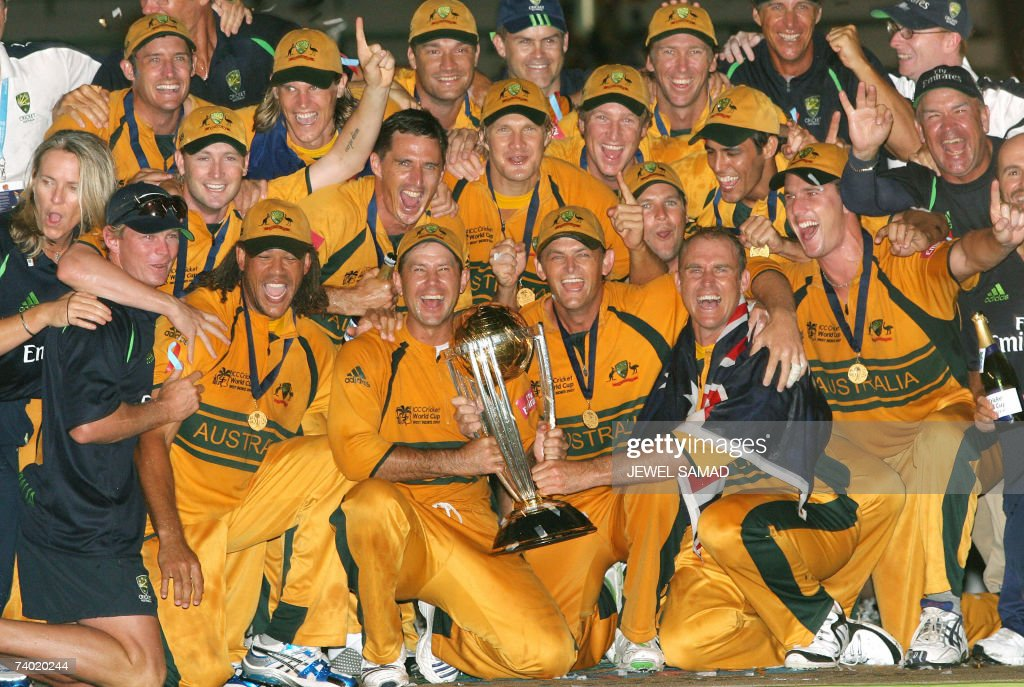 Australian cricketers pose with the trophy of the ICC Cricket World Cup 2007 at the Kensington Oval in Bridgetown, 28 April 2007. Australia defeated Sri Lanaka to win the championship for the third time. AFP PHOTO/Jewel SAMAD