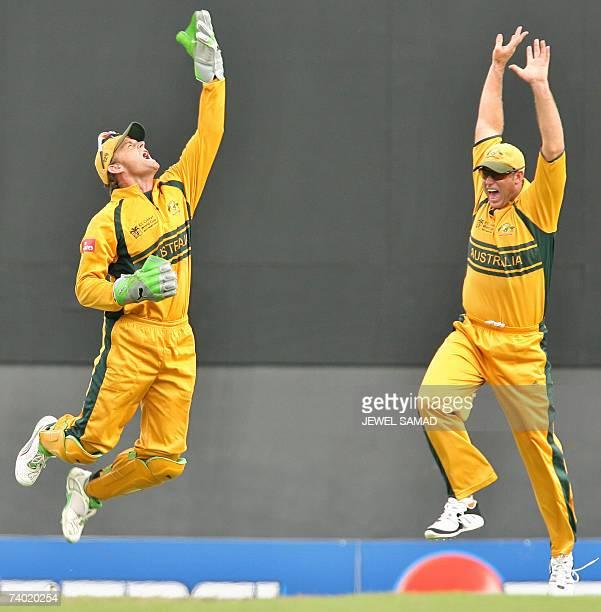 Australian wicketkeeper Adam Gilchrist gets airborne after taking a catch to dismiss Sri Lankan batsman Upul Tharanga while Matthew Hayden joins the...