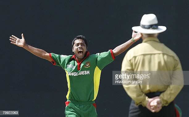 Bangladesh's Syed Rasel successfully appeals for LBW for West Indies's Chris Gayle during their ICC World Cup super-eights match at the Kensington...