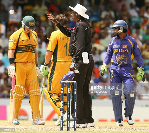 Cricket umpire Steve Bucknor officiates between Australia and Sri Lanka in the final of the ICC Cricket World Cup 2007 at the Kensington Oval stadium...