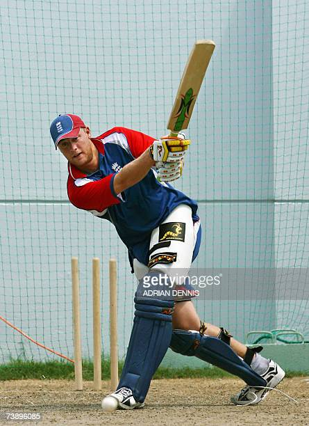 England's Andrew Flintoff in the batting nets during team training at the Kensington Oval in Bridgetown Barbados 16 April 2007 England plays South...