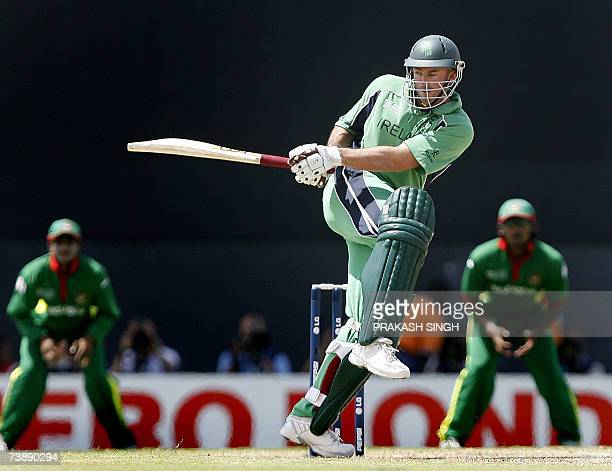 Ireland's Jeremy Bray plays a shot against Bangladesh during the SuperEight ICC World Cup cricket match at the Kensington Oval in Bridgetown Barbados...