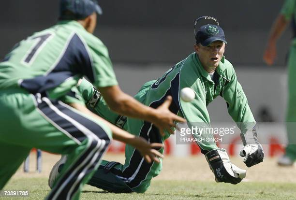 Ireland's Wicket keeper Niall O'Brien misses a throw against Bangladesh during the SuperEights ICC World Cup cricket match at the Kensington Oval in...