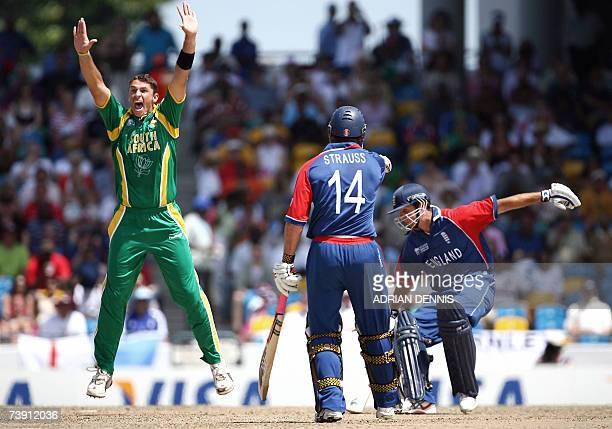 South Africa's Andre Nel appeals for lbw to take the wicket of England's Captain Michael Vaughan during the Super-Eight ICC World Cup cricket match...