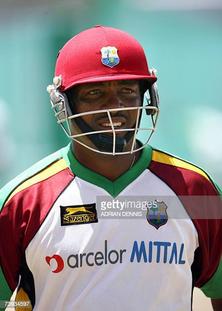 West Indies Captain Brian Lara leaves walks out of the batting nets during team training at the Kensington Oval in Bridgetown Barbados 20 April 2007...