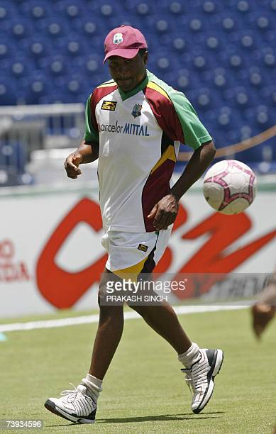 West Indies Captain Brian Lara plays a warmup football game during team training at the Kensington Oval in Bridgetown Barbados 20 April 2007 The West...