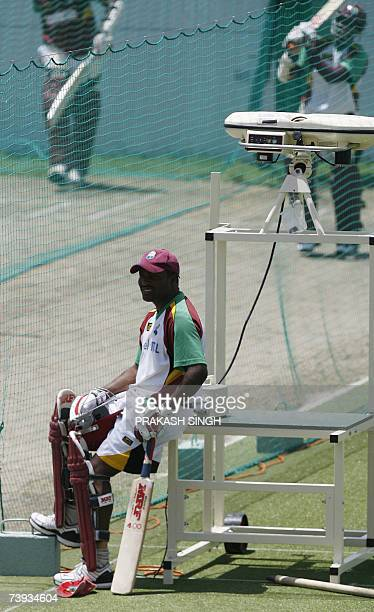 West Indies Captain Brian Lara waits for his batting turn in nets during training session at the Kensington Oval in Bridgetown Barbados 20 April 2007...
