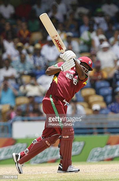 West Indies's Captain Brian Lara plays a shot against Bangladesh, during their ICC World Cup super-eights match at the Kensington Oval in Bridgetown...